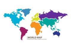 Vettore di progettazione della mappa di mondo dei pixel Fotografia Stock Libera da Diritti