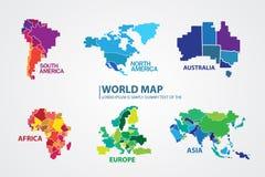 Vettore di progettazione della mappa di mondo del pixel Fotografia Stock Libera da Diritti