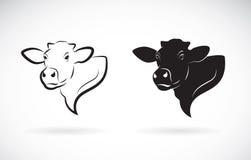 Vettore di progettazione della testa della mucca su fondo bianco Azienda agricola Immagini Stock Libere da Diritti