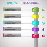 Vettore di progettazione di infographics di cronologia con una colonna di cinque opzioni royalty illustrazione gratis
