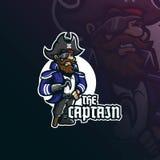 Vettore di progettazione di logo della mascotte dei pirati di capitano con stile moderno di concetto dell'illustrazione per stamp illustrazione di stock