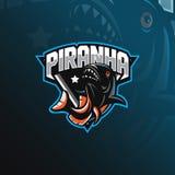 Vettore di progettazione di logo della mascotte del piranha del pesce con stile moderno di concetto dell'illustrazione per stampa illustrazione vettoriale