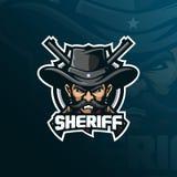 Vettore di progettazione di logo della mascotte dello sceriffo con stile moderno di concetto dell'illustrazione per stampa del di illustrazione vettoriale