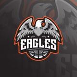 Vettore di progettazione di logo della mascotte di Eagle con stile moderno di concetto dell'illustrazione per stampa del distinti illustrazione di stock