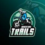 Vettore di progettazione di logo della mascotte di motocross con stile moderno di concetto dell'illustrazione per stampa del dist illustrazione di stock
