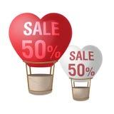 Vettore di promozione di vendita del pallone del cuore due Fotografia Stock Libera da Diritti