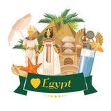 Vettore di pubblicità dell'Egitto Icone tradizionali egiziane nella progettazione piana Insegna di festa illustrazione vettoriale