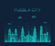 Vettore di Puebla Messico dell'orizzonte della città di Puebla lineare Fotografie Stock Libere da Diritti