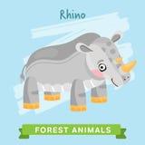 Vettore di rinoceronte, animali della foresta Fotografia Stock Libera da Diritti