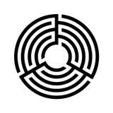 Vettore di riserva, icona rotonda del labirinto Progettazione piana Vettore di riserva Labirinto triplo, labirinto immagine stock