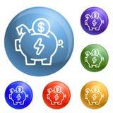 Vettore di risparmio dell'insieme delle icone del porcellino salvadanaio di economia illustrazione vettoriale
