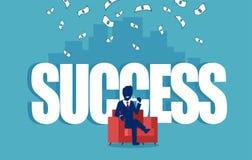 Vettore di riuscito uomo d'affari che si siede in una poltrona rossa sotto la pioggia dei soldi royalty illustrazione gratis