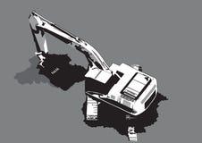 Vettore di scavatura del macchinario di costruzione Immagini Stock Libere da Diritti