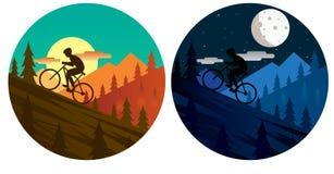 Vettore di scena di giorno e di notte del ciclista in mountain-bike illustrazione vettoriale
