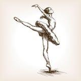 Vettore di schizzo della ragazza del ballerino di balletto Fotografia Stock