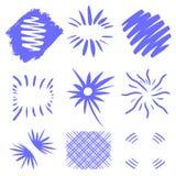 Vettore di scoppi Esplosioni solari disegnate a mano su fondo bianco Forme geometriche blu scuro Progettazione unica per il testo illustrazione vettoriale