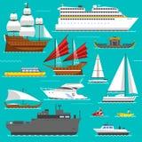 Vettore di simboli del mare delle barche e della nave royalty illustrazione gratis