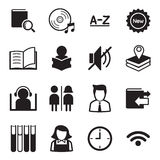 Vettore di simbolo dell'illustrazione delle icone delle biblioteche Fotografie Stock