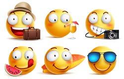 Vettore di smiley di estate fissato con le espressioni facciali Emoticon sorridente gialli del fronte illustrazione vettoriale