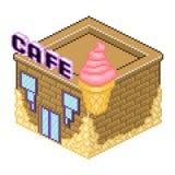 Vettore di stile del pixel dell'icona del caffè Fotografia Stock