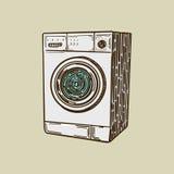 Vettore di stile dell'incisione della lavatrice Immagini Stock