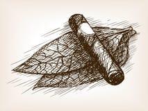 Vettore di stile di schizzo delle foglie e del sigaro del tabacco Fotografia Stock Libera da Diritti