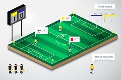 Vettore di stile isometrico di calcio di rapporto infographic della partita Fotografia Stock