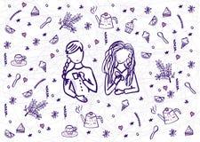Vettore di stile di scarabocchio delle ragazze di tempo del tè royalty illustrazione gratis