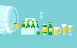Vettore di tipo differente di tipi di vetro di birra, della bottiglia e della latta immagine stock libera da diritti