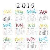 Vettore 2019 di tipografia del testo della cartolina d'auguri del buon anno del pianificatore del calendario Fotografie Stock Libere da Diritti
