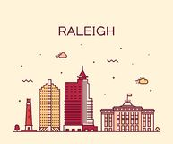 Vettore di U.S.A. della Nord Carolina dell'orizzonte di Raleigh lineare fotografia stock