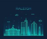 Vettore di U.S.A. della Nord Carolina dell'orizzonte di Raleigh lineare immagini stock