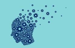 Vettore di un cervello capo umano che si rompe nei piccoli meccanismi di ingranaggio dei pezzi illustrazione vettoriale