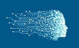 Vettore di un fronte fatto delle particelle digitali come simbolo di intelligenza artificiale e dell'apprendimento automatico royalty illustrazione gratis