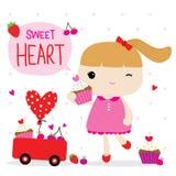 Vettore di Valentine Girl Cute Cartoon Character di amore Fotografie Stock