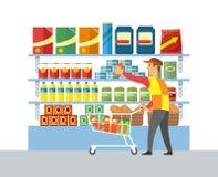 Vettore di vendita del lavoratore del deposito del supermercato illustrazione vettoriale