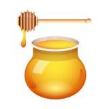 Vettore di vetro del barattolo del miele con il merlo acquaiolo del miele su fondo bianco Miele fresco con un bastone Immagine Stock