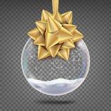 Vettore di vetro della palla di Natale Sfera realistica Arco brillante di Toy With Snowflake And Golden dell'albero di natale Su illustrazione di stock
