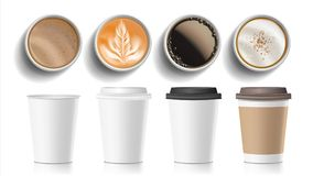 Vettore di vista superiore delle tazze di caffè La plastica, alimenti a rapida preparazione vuoti bianchi della carta elimina le  Fotografie Stock Libere da Diritti