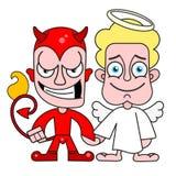 Vettore diabolico di Angel And Demon Good And per la maglietta illustrazione di stock