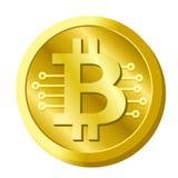 Vettore digitale di valuta di cryptocurrency dorato del bitcoin Immagine Stock