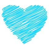 Vettore disegnato a mano blu di schizzo del cuore royalty illustrazione gratis