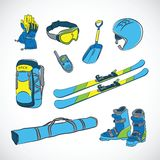 Vettore disegnato a mano Colorfull Ski Icon Set Fotografia Stock