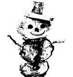Vettore disegnato a mano del pupazzo di neve su fondo bianco Immagini Stock