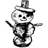 Vettore disegnato a mano del pupazzo di neve su fondo bianco Fotografia Stock