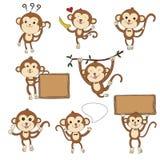 vettore disegnato a mano dell'insieme del carattere di 8 scimmie Immagine Stock