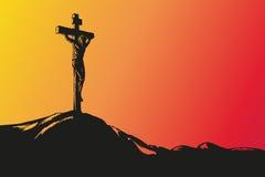 Vettore disegnato a mano di Jesus Christ Crucifixion illustrazione vettoriale