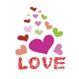 Vettore disegnato a mano di scarabocchio di amore di parola e del cuore Fotografie Stock Libere da Diritti