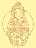 Vettore disegnato a mano di stile di Matryoshka Giappone Immagini Stock Libere da Diritti