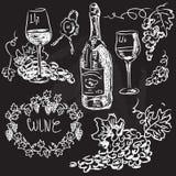 Vettore disegnato a mano fissato - vino e vinificazione Illustrazione Vettoriale
